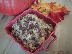Voici pour aujourd'hui une recette de crumble d'automne aux pépites de chocolat. Il s'agit d'une recette à base de châtaignes. Si vous êtes adeptes de Weight Watchers la part vaut 2 sp / personne.