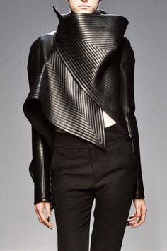 Sculptural Fashion - black leather jacket; futuristic fashion armour // Gareth Pugh Fall 2010