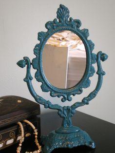 Teal Tabletop Mirror. $8.00, Via Etsy.