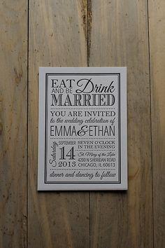 Letterpress wedding invitations, black and white wedding invitations, eat drink and be married