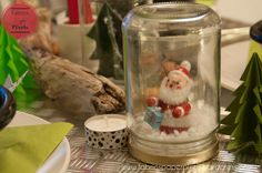 Christmas decoration session – part 1 Snow Globes, December, Fabrics, Christmas Decorations, About Me Blog, Presents, Santa, Jar, Noel