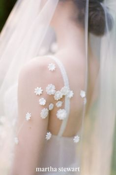 Romantic floral appliqués like the ones seen here, on this Zanzis Couture wedding veil is a simple way to add some beautiful detail to your wedding day. #weddingideas #wedding #marthstewartwedding #weddingplanning #weddingchecklist Martha Stewart, Chapel Length Veil, Spring Wedding Inspiration, Wedding Ideas, Budget Wedding, Wedding Themes, Wedding Decor, Wedding Photos, Wedding Planning