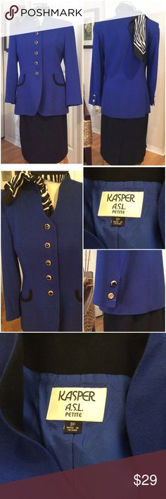 💼Cobalt Blue & Black 2 pcs Suit💼 Excellent Used Condition.  On the left sleeve the black interior of the button is missing. Kasper Other