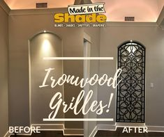 Ironwood grilles for any special space with custom fit and hundreds of color finishes from Made in the Shade Window Treatments, It Is Finished, Neon Signs, Space, Fit, Amazing, How To Make, Color, Home Decor