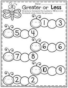 Kindergarten Comparing Numbers Worksheets - Greater or Less Than Caterpillars Number Worksheets Kindergarten, Kindergarten Coloring Pages, Numbers Preschool, Math Numbers, Learning Numbers, Preschool Learning, Homeschool Kindergarten, Teaching, Comparing Numbers Worksheet