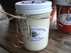 White Rabbit  One of our newest candles! White Rabbit has an amazing fragrance with  jasmine and rose then hints of lemon with soft musky undertones, a very crisp clean fragrance!  http://oldhippie.storenvy.com   Hippiemade in the USA!  100% all natural soy wax & essential oils, we use only cotton or hemp wicks for a cle...