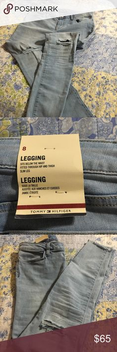 NWT Tommy Hilfiger Leggings.  Size 8. NWT Tommy Hilfiger Leggings.  Size 8. Slim fit.  Fringed at the ankles, holes at the knees.  Very cute!! Tommy Hilfiger Jeans Ankle & Cropped
