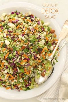 Crunchy Detox Salad.. Ready for some salad love? This is an ultra simple recipe both for the salad and its dressing. Awesome salad with detox benefits!!  @theharvestkithen.com