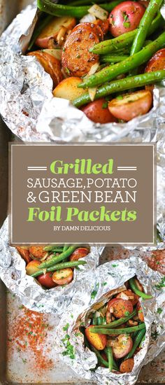 Grilled Sausage, Potato, and Green Bean Foil Packets