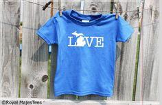 Kids Michigan Love Shirt by RoyalMajesTees on Etsy Love Shirt, Crew Shirt, Kids Shorts, Cute Shirts, Hoodies, Sweatshirts, Colorful Shirts, Michigan, Clothing Apparel
