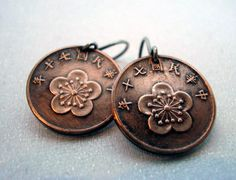 Your place to buy and sell all things handmade Handmade Wire Jewelry, Vintage Jewelry, Unique Jewelry, Coin Jewelry, Coin Necklace, Jewlery, Cherry Blossom Jewelry, Copper Penny, Copper Coin