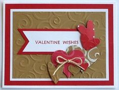 Valentine card making kit of 5 Happy Valentines Day Hearts Love