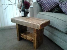 RUSTIC HAND MADE CHUNKY STABLE/TV STAND (STRIPPED PINE)