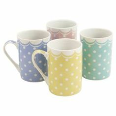 Add a charming touch to your morning cup of tea or afternoon coffee with this set of 4 multicolored pastel mugs, featuring a spotted design.  www.jossandmain.co.uk