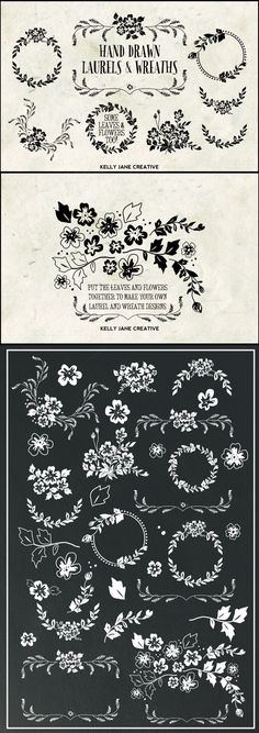 Hand-drawn wreaths and other decorative FLORAL elements for chalkboard art lovers. Also great for wedding invitations or beautiful gift cards with meaningful quotes...