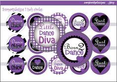 Dance Bottle Cap Images purple Printable images by smrpartydesigns, $1.99