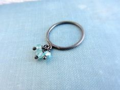 Oxidized sterling silver charm ring with blue by lunahoo on Etsy, $33.00