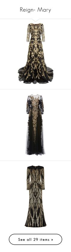 """Reign- Mary"" by claytkat ❤ liked on Polyvore featuring black, lace, dresses, Gowns, tulle, gowns, long dress, floral print evening gown, see through dress and sheer dress"