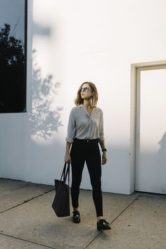 Everlane shirt, AG Jeans, August tote