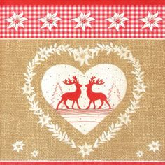 4 x Single Luxury Paper Napkins for Decoupage and Craft Vintage Deer Love Nature