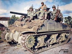 American medium tank M4 Sherman from part of the 33rd armored regiment, 3rd armored division in the German city of Stolberg. 14 October 1944. Pin by Paolo Marzioli