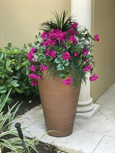 Images of artificial flowers in window boxes outdoor artificial artificial outdoor silk bougainvillea dusty miller liriope and sprengeri planted in tall daniel pot from newpro containers mightylinksfo