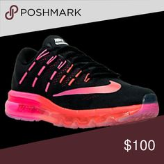Nike Air max 2016 New photos! Nike Air Max 2016. Black with pink and orange. Wore them once, like brand new. Nike Shoes Athletic Shoes