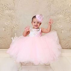 """The Lili Dress is so stunning  Its train is embellished with pink organza flowers  customer photo #repost SHOP: ittybittytoes.com (search """"Lili"""") OR click the link in our bio"""