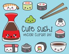 Premium Vector Clipart - Kawaii Sushi Clipart - Kawaii Sushi Clip Art Set - High Quality Vectors - Instant Download - Kawaii Clipart by LookLookPrettyPaper on Etsy https://www.etsy.com/listing/258843615/premium-vector-clipart-kawaii-sushi