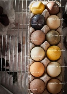 Tea dyed easter eggs.  Dying with foods rather than food colouring.