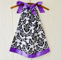 Satin and Damask Pillowcase Dress, Occasion Dress, Black and White, Riley Blake, 3m, 6m, 9m, 12m, 18m, 24m, 2t, 3t, 4t, 5y, 6y, 7y on Etsy, $26.00