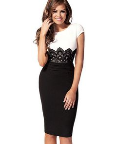 Black and White Pencil Dress
