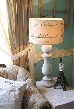 Pottery Barn Lamp Shade Tutorial   How to make a French Script lampshade from a thrift store find.