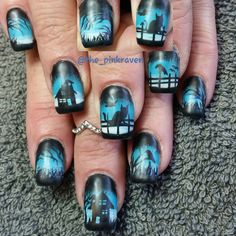 halloween nail art handpainted with sculpted acrylic @ the-pinkraven