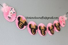 Minnie Mouse Birthday Banner / Pink Gold and by MarianelasCrafts