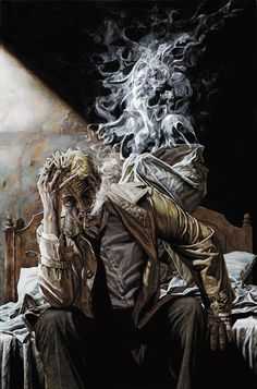 """John Constantine, """"Hellblazer"""" by Lee Bermejo. Don't miss the face in the smoke. Comic Book Artists, Comic Book Characters, Comic Books Art, Comic Art, Epic Characters, Arte Dc Comics, Dc Comics Art, John Constantine Hellblazer, Constantine Comic"""