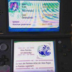 Endlich :D mit dem ganzen SR fürs richtige Wesen hats doch lang gedauert   #gaming #games #zocken #instagamin #nintendo #pokemon #pokemonmond #pokemonmoon #sunandmoon #pokedex #trainerpass #aloladex