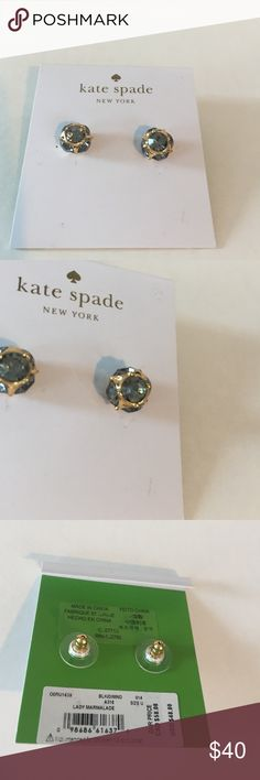 "Kate Spade Stud Earrings Comes with Kate Spade Dust Bag Approx. diameter: 3/8"". Metal:Gold plated base Material:Crystal.                                                           Color: Black/Diamond.                                                                     💖 kate spade Jewelry Earrings"