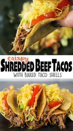 Crispy Shredded Beef Tacos, with crunchy taco shells that are baked not fried! A healthier & tastier alternative to the fried take-out version! Click🔗 for the full detailed recipe and video! 😋 #beef #tacos #mexican #glutenfreerecipes #easyrecipe #mexicanfoodrecipes Shredded Beef Recipes, Shredded Beef Tacos, Mexican Shredded Beef, Shredded Beef Sandwiches, Lunch Recipes, Mexican Food Recipes, Cooking Recipes, Healthy Recipes, Easy Recipes