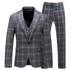 Hommes Marc Darcy Check 2 pièces Blazer /& Gilet Set George-Bleu Ciel