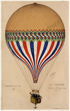 antique french illustration air balloon french от FrenchFrouFrou