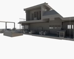 living longitudinal section, dining room and kitchen