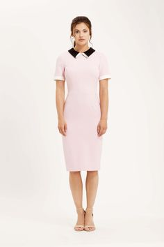 The Tate pencil dress with short sleeves, contrasting collar and cuff detailing. Pale pink, black and cream.