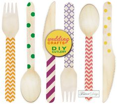 DIY stamped wedding cutlery from www.favor-days.com {made with eco-friendly birch wood}