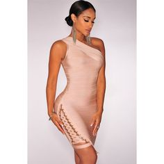 Apricot Lace Up One Shoulder Bandage Dress LAVELIQ (155 BAM) ❤ liked on Polyvore featuring dresses, sleeveless dress, sexy cocktail dresses, one sleeve cocktail dress, sexy summer dresses and sexy mini dress