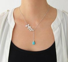 Silver Lariat Necklace Floral Leaf Orchid Chain Turquoise Gemstone Layering Long Modern Jewelry Gift for Mother Sister Best Friend C1