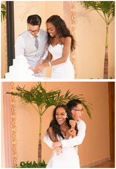 AMBW wedding , love her hair and picture cutting the cake and cake in your face