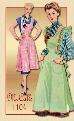 1940s Apron Pattern McCalls 1104 Vintage Bib Apron Pattern with Peppers Applique Transfer Size Small