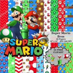 Super Mario Bros Digital Paper Pack  30 by DigitalStudioDesigns
