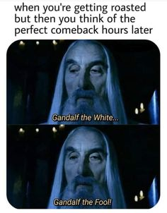 When you're getting roasted but then you think of the perfect comeback hours later .\ Gandalf the White. I___- L ,Gandalf the Fool! Legolas, Thranduil, Aragorn, Funny Memes, Hilarious, Funniest Memes, Logic Memes, Top Funny, Funny Laugh